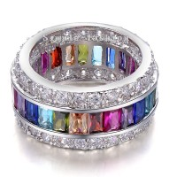 Victoria Wieck Women Engagement Jewelry Princess Cut 15ct Mutil Color Gem Cz Diamond 925 Sterling Silver