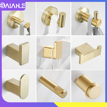 Double Robe Hook Stainless Steel Gold Bathroom Hook for Towels Key Hat Bag Wall Mounted Coat Hook Rack Decorative Clothes Hanger 2019 vintage black towel hook wall mounted coat hanger bathroom cloth hook key bag hat hanger robe hook