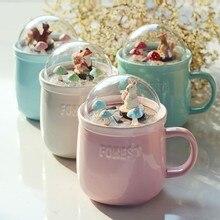 Креативные керамические кружки 3D мультфильм животных микро пейзаж Крышка для кофейной чашки лес Scrnery чай чашка молока подарок для невесты CU070910