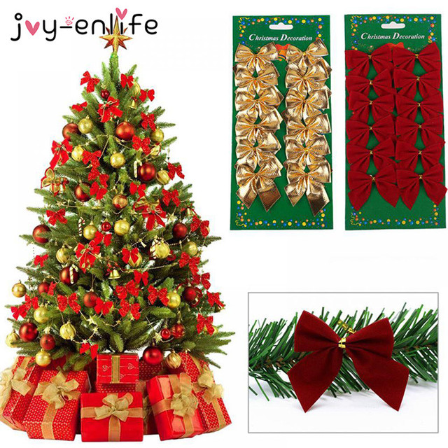 Us 0 62 48 Off 12pcs Lot Red Gold Silver Sparkling Glitter Ribbon Bow Decor Christmas Tree Decor Christmas Party Ornament Supplies In Party Diy