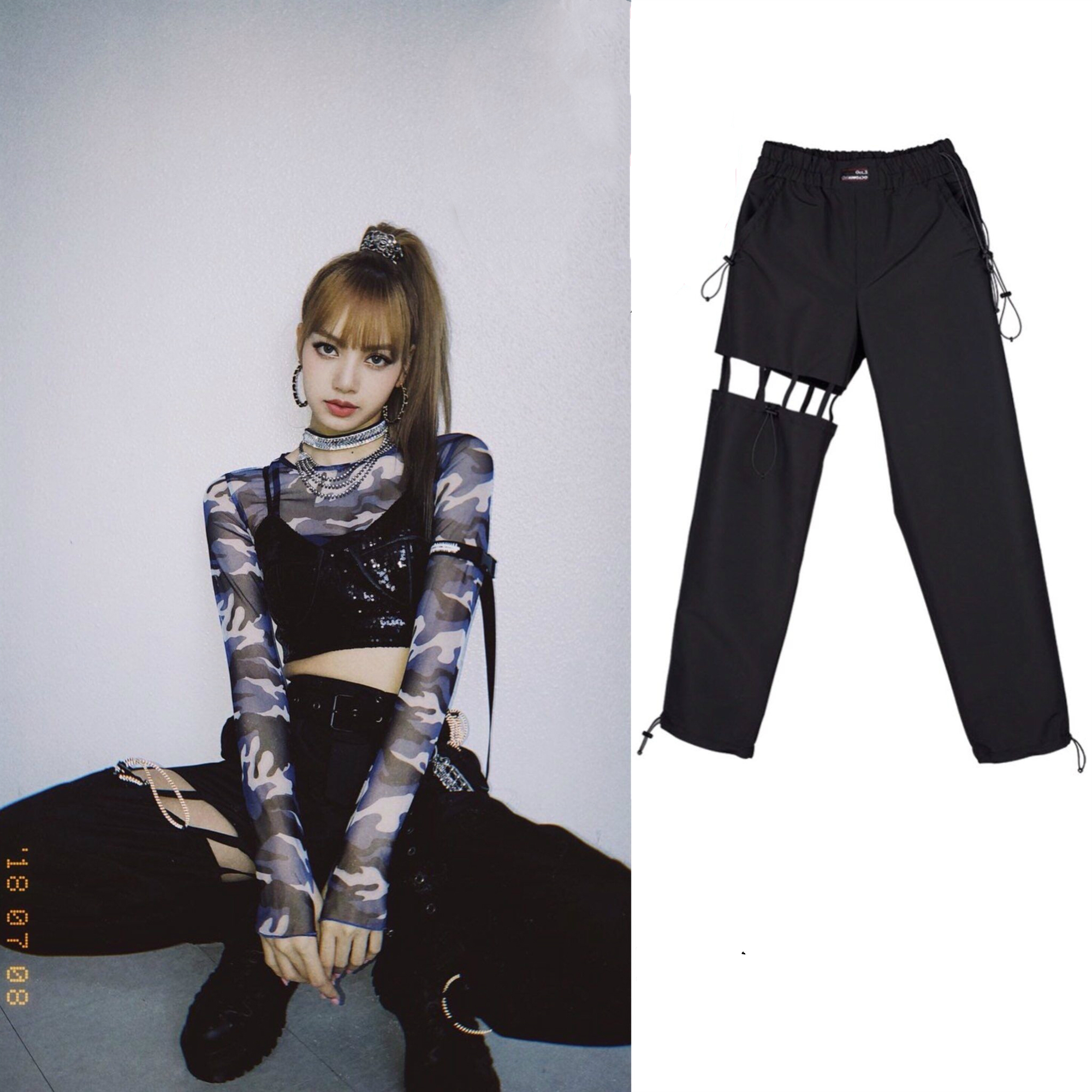 Harajuku New BLACKPINK LISA The Same High Waist Pants Women Casual Streetwear Summer Korean Trousers Female Fans Sexy Sweatpants