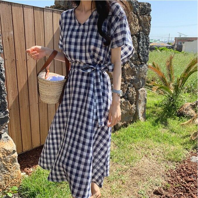 Модное клетчатое корейское дизайнерское платье в консервативном стиле, хлопковое тонкое винтажное платье INS Prairie, женское повседневное летнее платье