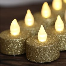 METABLE Pack of 12 Gold LED Tea Lights, Glitter Flameless Lights For Wedding Festival Christmas Decorations,