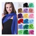 Новое прибытие 2015 сплошной цвет шелковые шарфы весной и осенью женщин сплошной цвет шифон шарф бесплатная доставка
