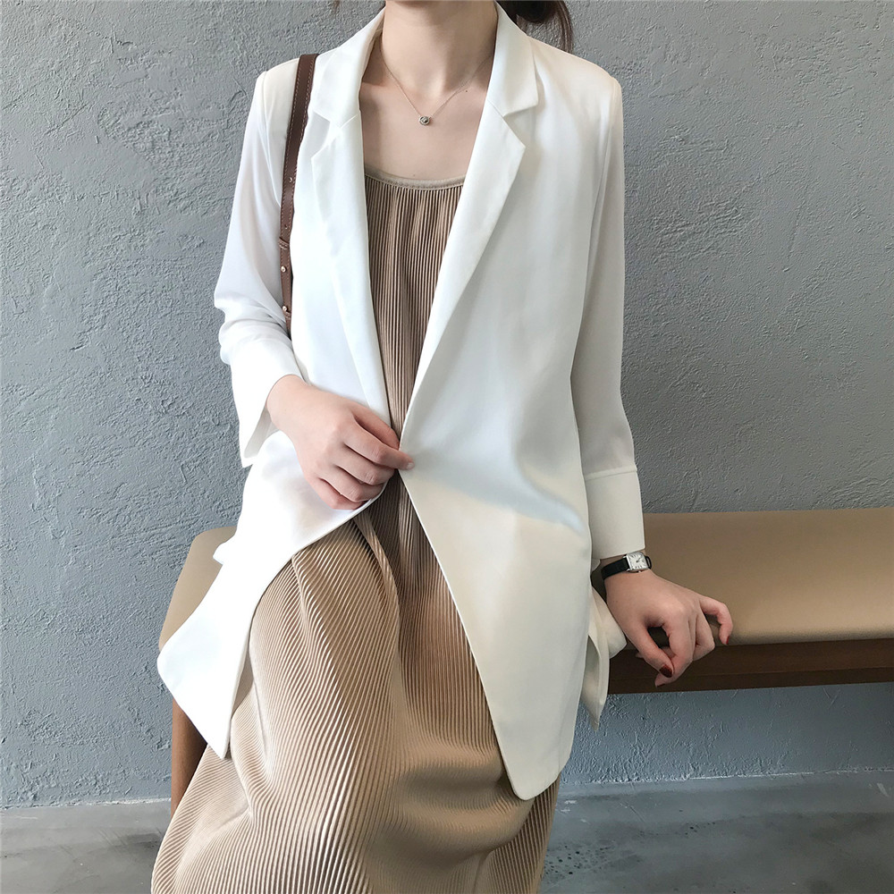 Summer Women Office Thin Suit 2019 Small Long Sleeve Chiffon Suit Jacket Women`s Autumn Work Blazer Suit All Match Suit Y0506 (29)