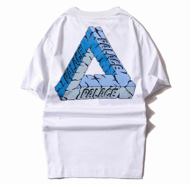 40d80471511d 2016 Palace T-Shirt Classic Triangle Print Men US Brand Summer White Tee  Short Sleeve Cotton Skateboards Streetwear T shirt Tees