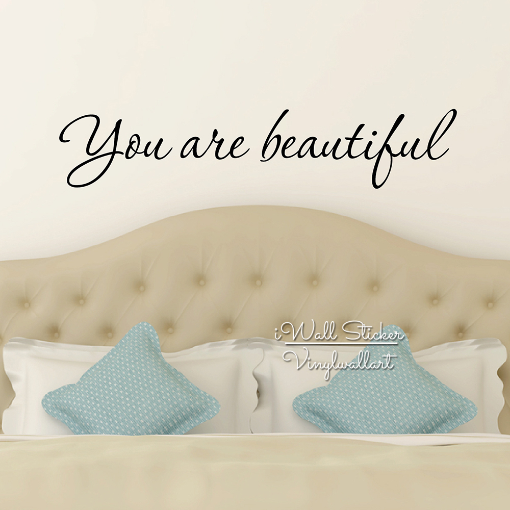 You Are Beautiful Quotes Wall Sticker Love Art Decals DIY Motivational Lettering Cut Vinyl Q234