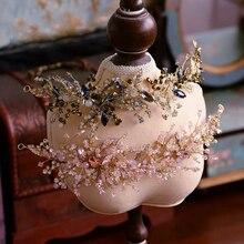 バロックピンク/黒ラインストーン結婚式のバレッタソフトブライダルヘアバンド結婚式のヘアアクセサリーウエディング頭飾り