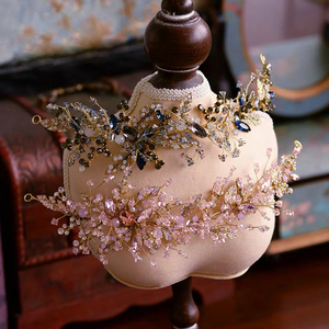 Image 1 - Baroque Pink/Black Rhinestone Wedding Barrettes Soft Bridal Hairbands Wedding Hair Accessory Prom Headdress