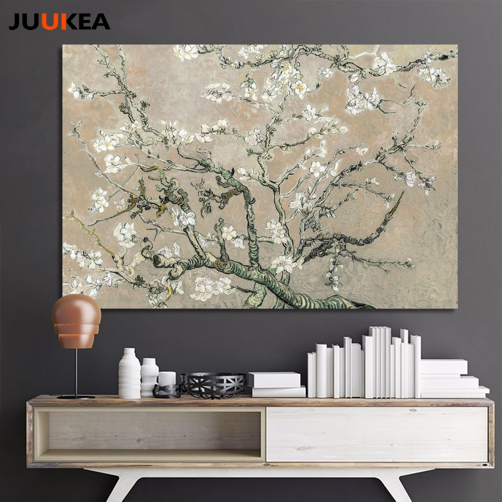 Large Canvas Art For Living Room American Furniture Van Gogh Size Gray Apricot Blossom Tree, ...