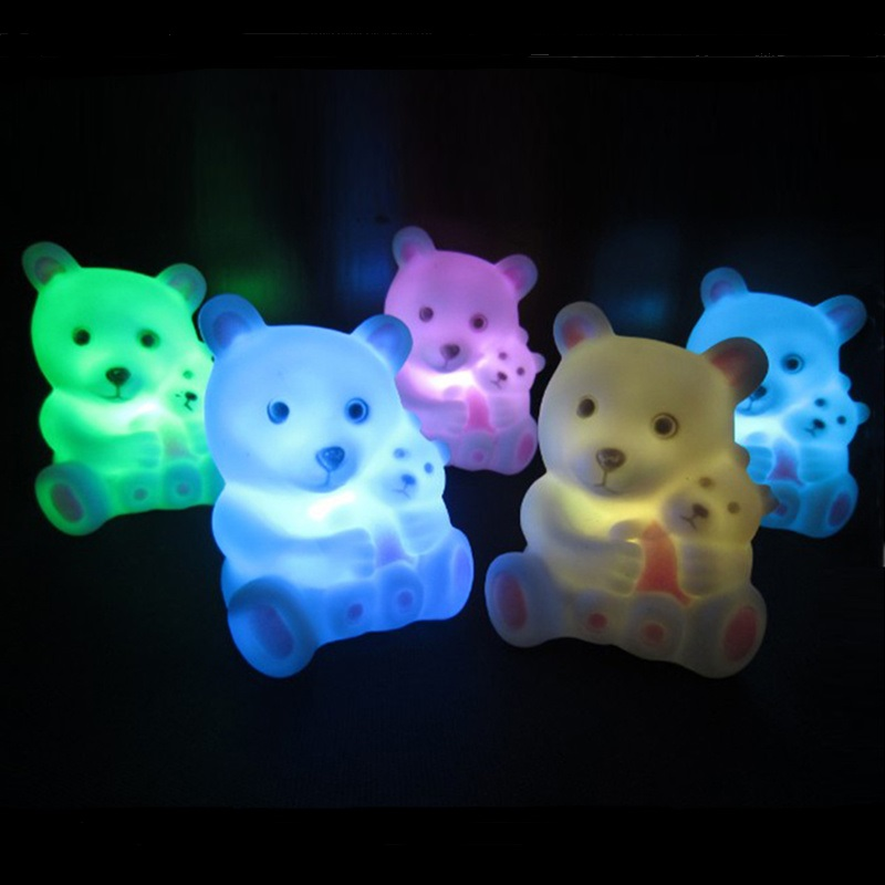1 Piece Cute Bear and Baby Shaped Wedding Decorative Lamp Festival Party 7 Color Light Night Lights Decora Home Xmas Gift~