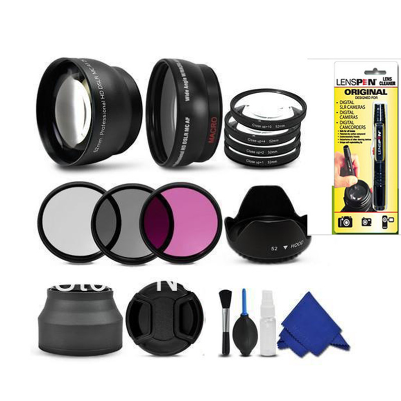 free shipping 52mm Wide Angle Telephoto Lens Filter Kit cleaning kit Accessory for canon nikon pentax