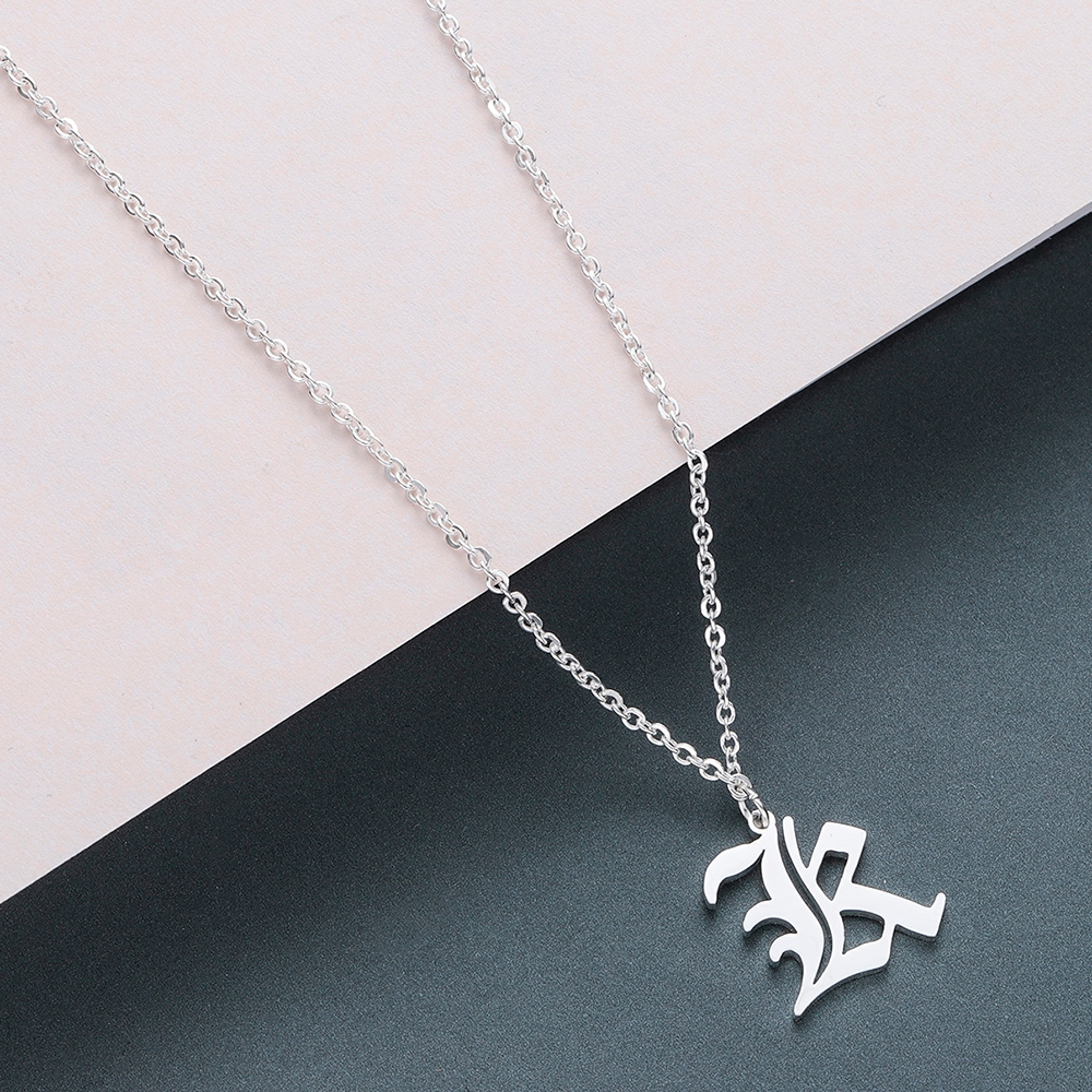 Todorova Old English Custom Capital Initial A-Z Letter Pendant Necklace Men Vintage Font Personalized Necklace Women Jewelry 33
