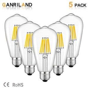 Image 1 - Светодиодная лампа GANRILAND, 12 В, 24 В, St58, E27, 4500 к, низкая мощность, 6 Вт, Эдисон, 12 В, винтажный теплый белый свет, 2700k