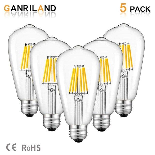 Светодиодная лампа GANRILAND, 12 В, 24 В, St58, E27, 4500 к, низкая мощность, 6 Вт, Эдисон, 12 В, винтажный теплый белый свет, 2700k