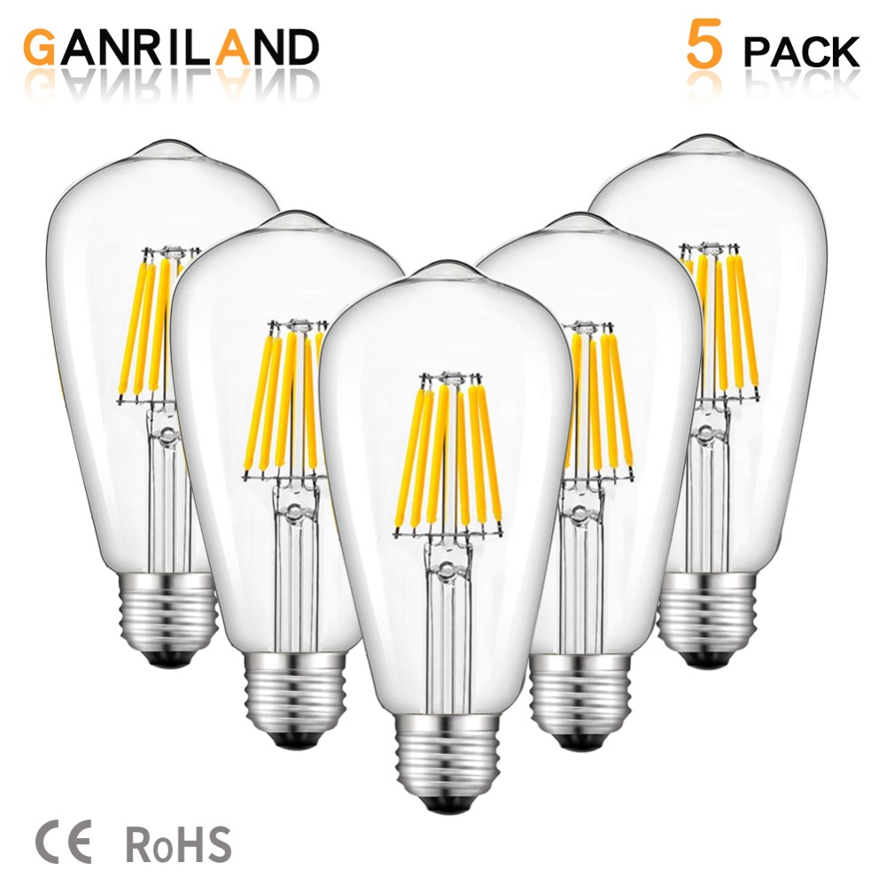 GANRILAND 12V 24V Light Bulb St58 E27 Led Bulab Daylight White 4500k Low Voltage 6W Edison Lamp Vintage Warm 2700K