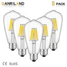 Ganriland 12V 24V Ánh Sáng St58 E27 LED Bulab Ánh Sáng Ban Ngày Trắng 4500 K Điện Áp Thấp 6W Edison đèn LED 12V Đèn Vintage Trắng Ấm 2700K
