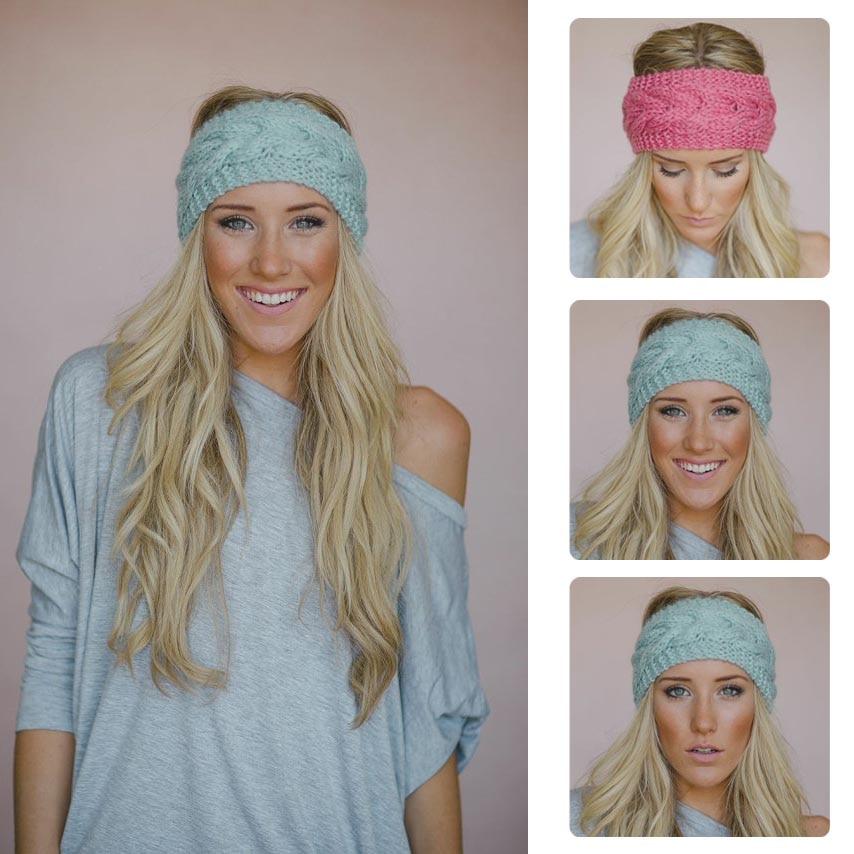 Retail Muffs Band Winter Flower Crochet Knit Knitted braid Headband ...