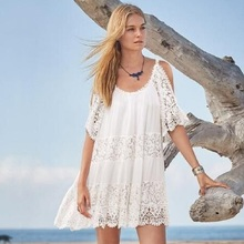 Beach Cover Up Pareo Playa Coverup Dress Vestido Livre Swimsuit Wear Swimwear White Lace Women Beachwear