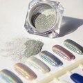 1 g/caja de Láser Holográfico Nail Powder Arco Iris Brillo Pigmento Pigmentos de Cromo Brillante Del Brillo Del Clavo de Manicura de Alta Calidad