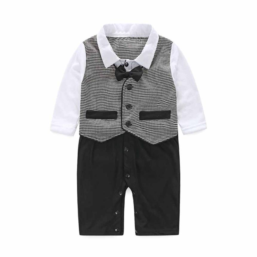 iEFiEL Infant Baby Boys Christening Baptism Outfits Long Sleeves Formal Bodysuit Jumpsuit Bowtie Blessing Gowns