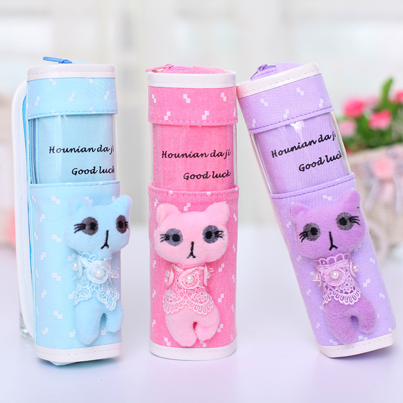 Creative Cat Pencil case for girls Cute canvas roll pencil bag for kids gift kawaii Stationery pen pouch school supplies 1Piece new cute beautiful world canvas pencil case kawaii kids girl pencil bag pen bag pouch student school supplies stationery gifts