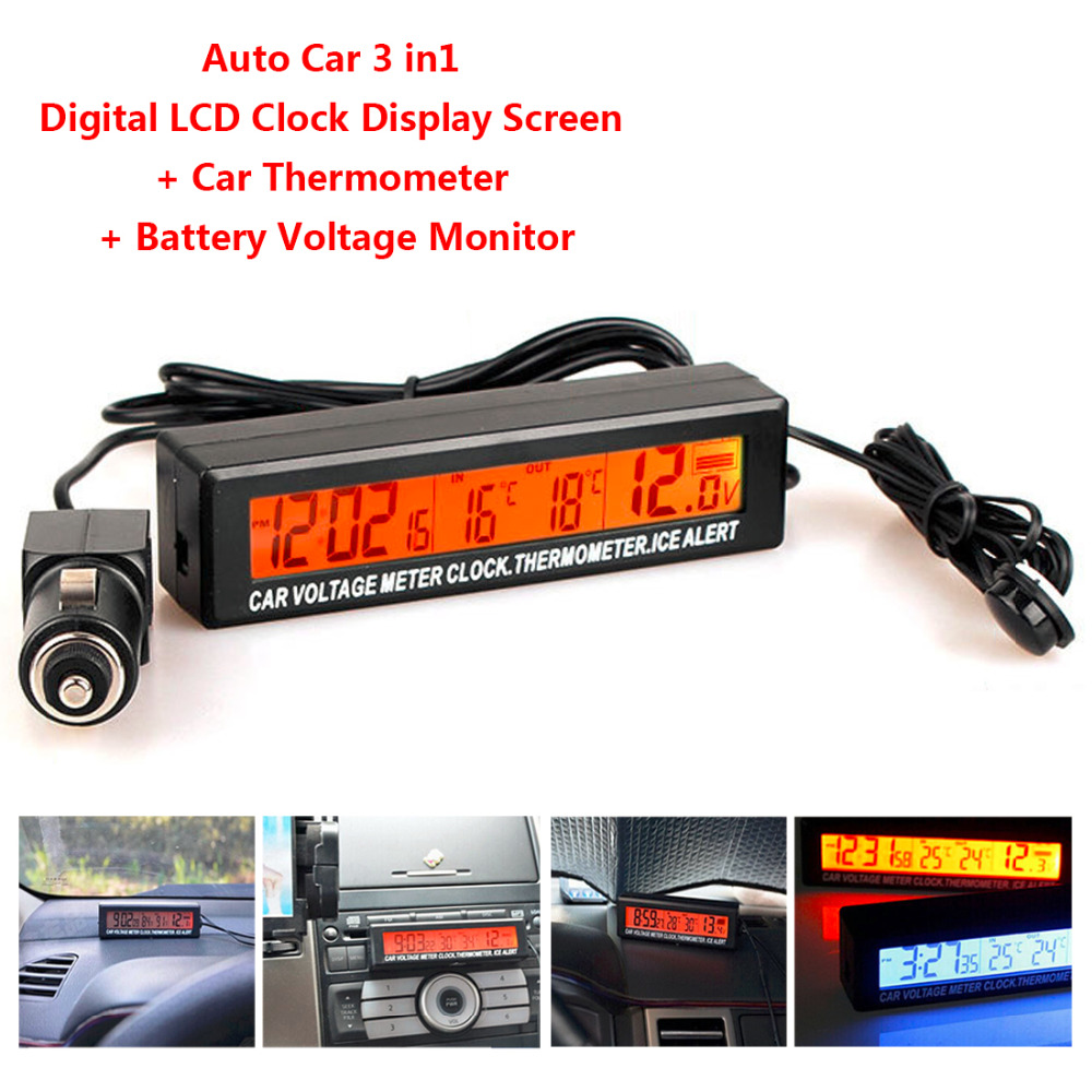 3 in 1 Digital LCD Uhr Auto Thermometer Batterie Spannung Monitor Auto Thermometer Voltmeter Temperatur Gaugge 12 v/24 v