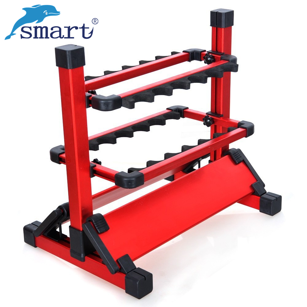 Smart Aluminum Fishing Rod Rack With Blue/Silver/Red 12 Fish Rod Holders For Carp Fishing Tackle Pesca De Peche Tool Acesorios 4 color 50cm big folding live fish box thick eva carp rod bucket water tank with handle bags fishing tackle tools accessories