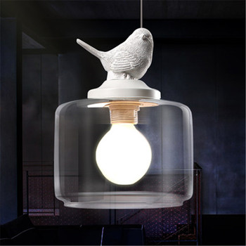 Remote Control Bird | GZMJ Vintage Loft LED Pendant Light Lamp Bird Glass Lampshade Industrial Hanging Lamp Home Lighting Living Room Light Fixtures