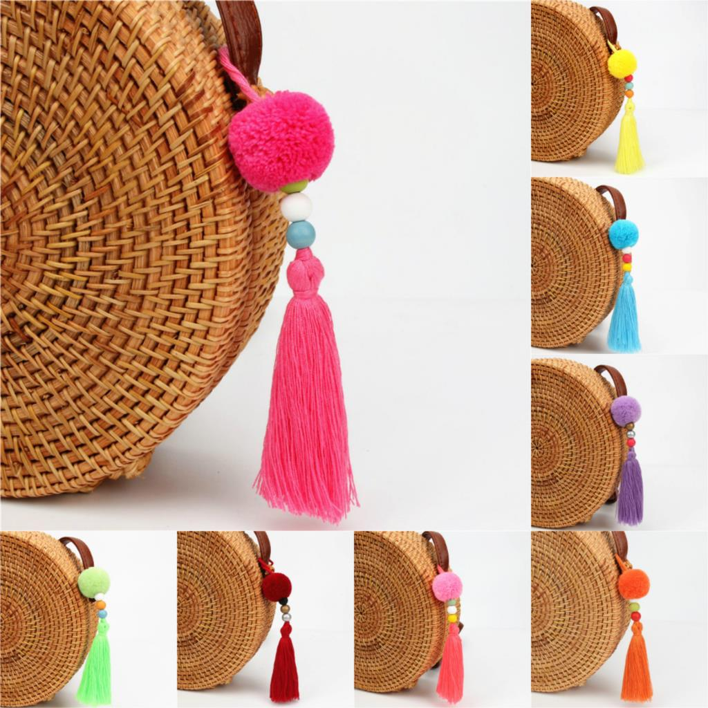 1pc Dropshipping Pompom Keychains With Tassel Wooden Beads Charms Keyring Boho Jewelry F ...