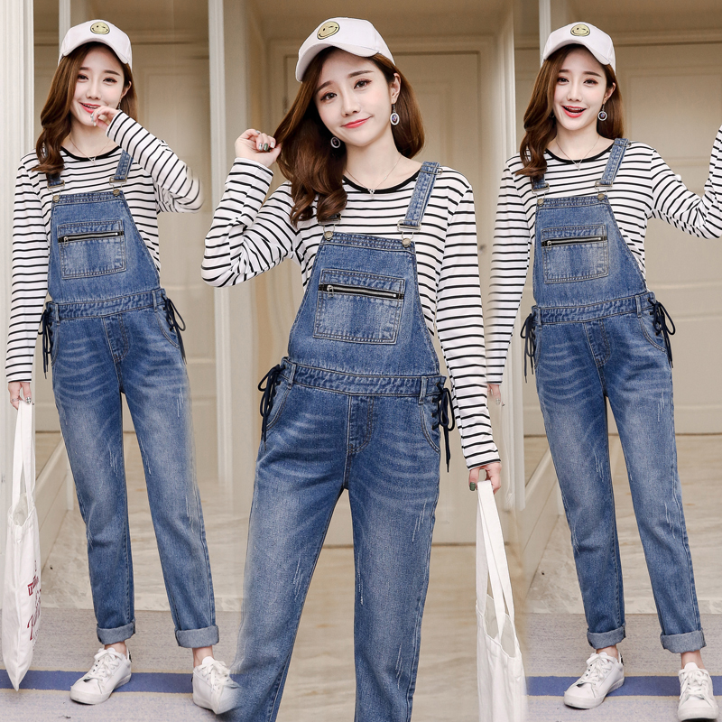 Spring Autumn Denim Maternity Jumpsuit Casual Jeans Overalls Pants Pregnancy Clothing For Pregnant Women Bib Pants s xl jeans casual loose denim pants 2018 new spring mid waist tassel wide leg jeans pants for women