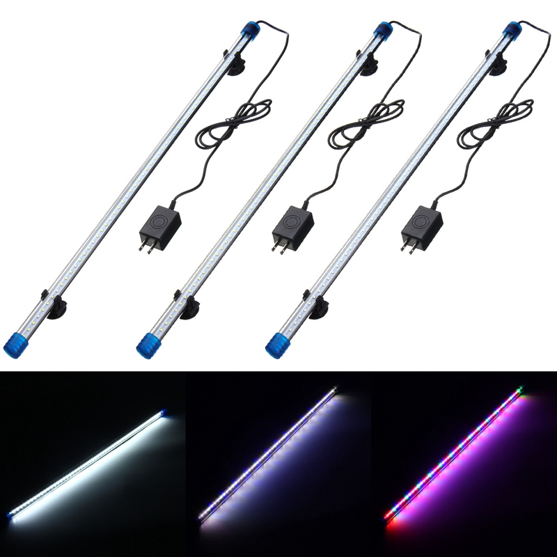 Waterproof 60cm RGB LED Bar Lights 2835SMD Glass Shell Blue White Fish Tank Underwater Lamp Home Decoration US Plug AC 220V 6W