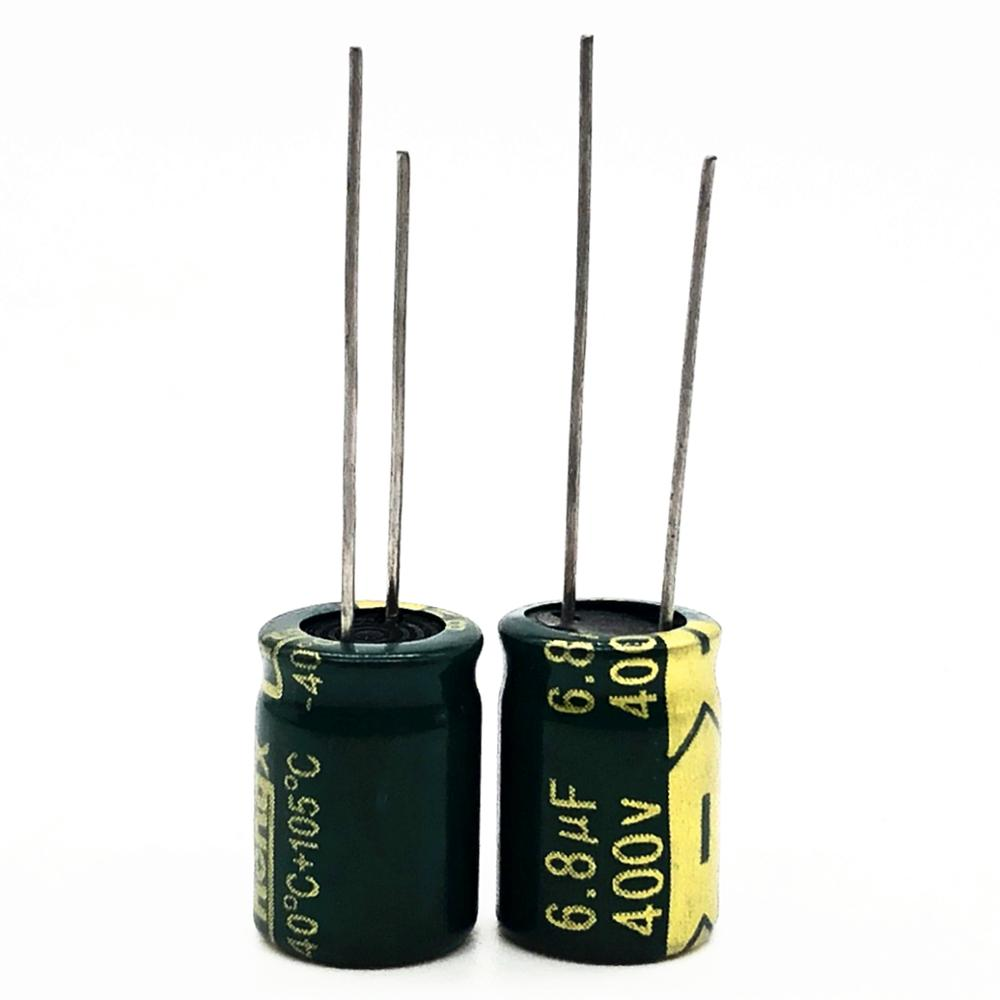 12pcs/lot 400V 6.8uf High Frequency Low Impedance 10*13mm 20% RADIAL Aluminum Electrolytic Capacitor 6800NF