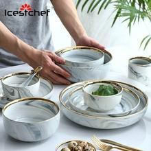 ICESTCHEF Marble Ceramic Bowl Ceramic Bowl Dessert Rice Soup Bowl Dinner Plate Dish Deep Soup Plate Tableware