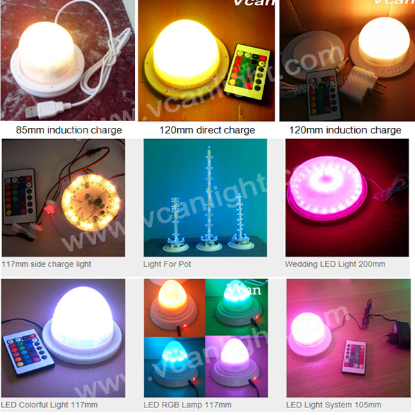 6 pcs DHL Free Shipping Super Bright 38LEDs RGBW Waterproof Rechargeable Under Table Led Light For Wedding