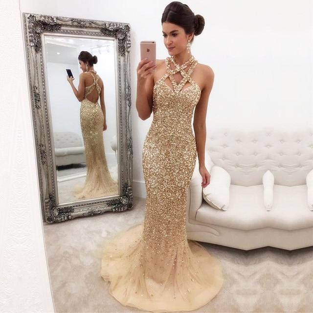Luxury Golden Crystal Mermaid Prom Gowns 2019 Halter Sexy Dubai Long Formal  Evening Party Dress Vestido De Festa Abendkleider 1776032ffa76