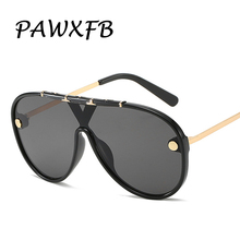 PAWXFB 2019 New One Pieces Square Sunglasses Women Men Big Frame Sun Glasses Fashion Driving Shades 400UV