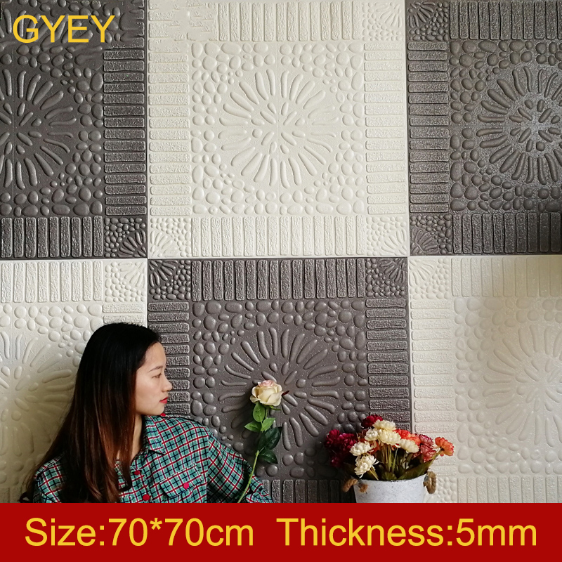 Self Adhesive 3D Brick Wall Stickers Living Waterproof Foam Room Bedroom DIY Adhesive Wallpaper Art 70*70*0.5cm home Wall Decals image