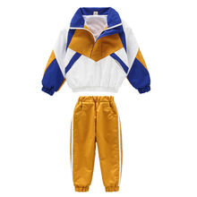Kids spring and autumn handsome coloring clothing sweatpants two pieces set