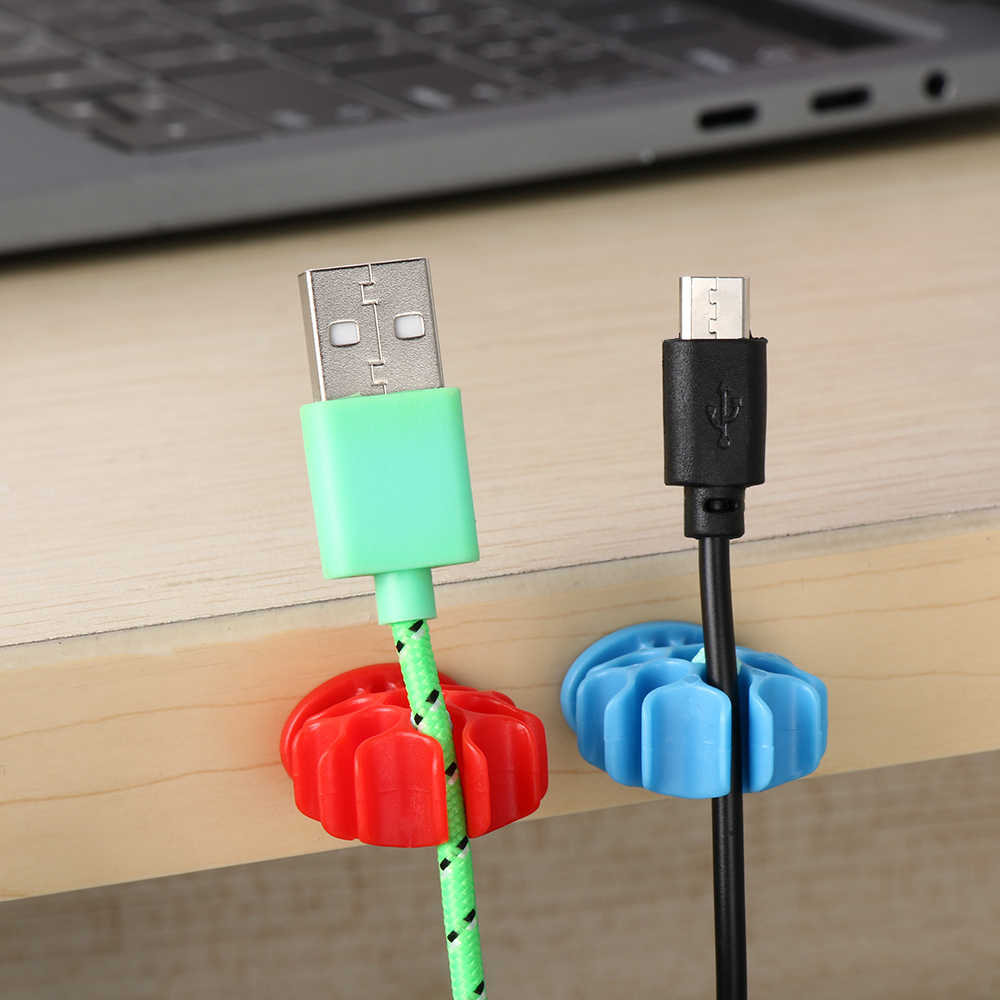 Universal New Silicon Charger Holder Clips Cable Winder Earphone Cable Organizer Wire Storage Silicone Line Cord Fixer 5 Slot Du