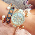 La moda de Nueva Reloj de Cuarzo Mujeres de Lujo Chapado En Oro Relojes de Señoras de Ginebra Relojes Relogio Del Reloj de Metal de Las Mujeres