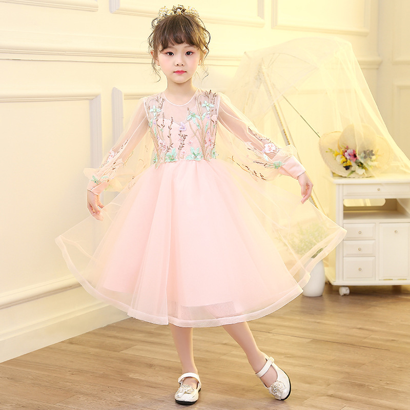Pink Flower Girl Dresses for Wedding Hollow Out Long Sleeve Embroidery Princess Dress Ball Gowm Kids Pageant Dress for Birthday цены