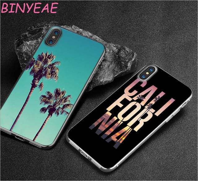 newest e28f3 2a5b0 US $1.8 30% OFF|BINYEAE california trees Beach Surf Travel Style Clear Soft  TPU Phone Cases for Apple iPhone X 8 7 6 6s Plus 5 5S SE 5C-in Fitted ...