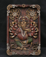 christmas 9 Old Tibet Wood Painting 16 Arms Ganesa Ganesha God Hang Tangka Thangka Mural halloween