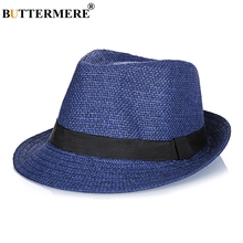 BUTTERMERE Straw Fedora Hats Mens Navy Blue Vintage Summer Beach Hat Ladies Casual England Style Designer Classic Jazz