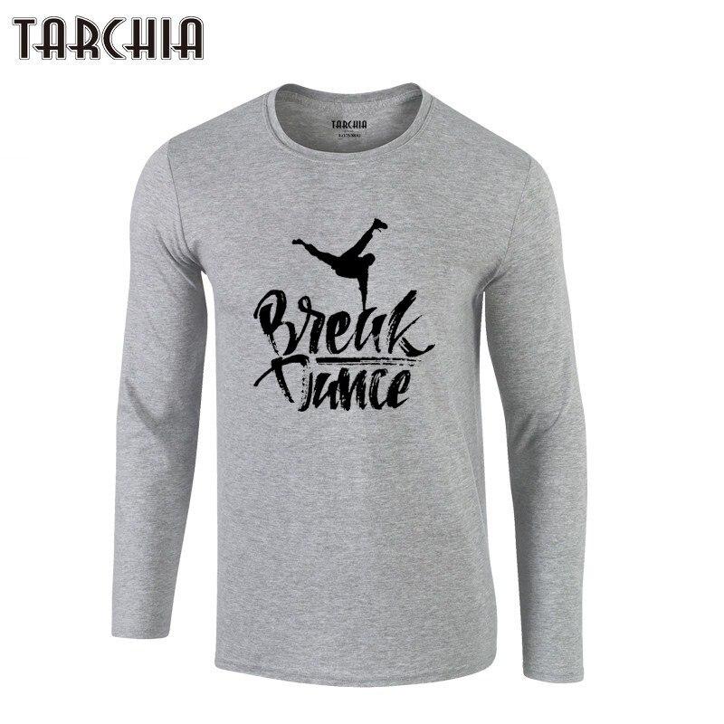 TARCHIA Long Sleeve Men new homme T-Shirt 100% Cotton break dance Plus Size Men's Tee tee 2019 Brand Free Shipping Eur Size