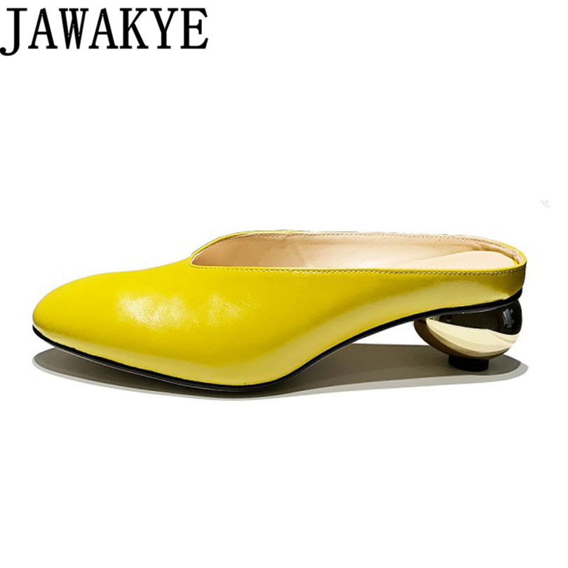 Summer genuine leather sandals women round toe yellow Slippers retro gold round ball med heels mules runway style shoes ladies ouqinvshen spherical heel mules shoes round toe plus size 34 43 genuine leather yellow white ladies shoes fashion slippers women