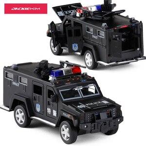 Image 2 - 1:32 משטרת SWAT נגד חטיפה משוריין רכב משאית סגסוגת רכב דגם עם מוסיקלי מהבהב למשוך בחזרה עבור תינוק צעצוע משלוח חינם