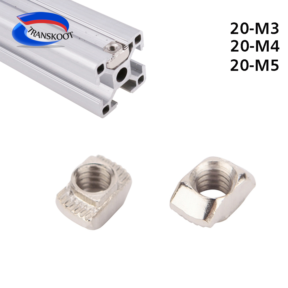 100pcs 50pcs M3 M4 M5 Nickel Plated T nut Hammer Head Fasten Nut for Aluminum Extrusion Profile 2020 1515 series Slot 6mm