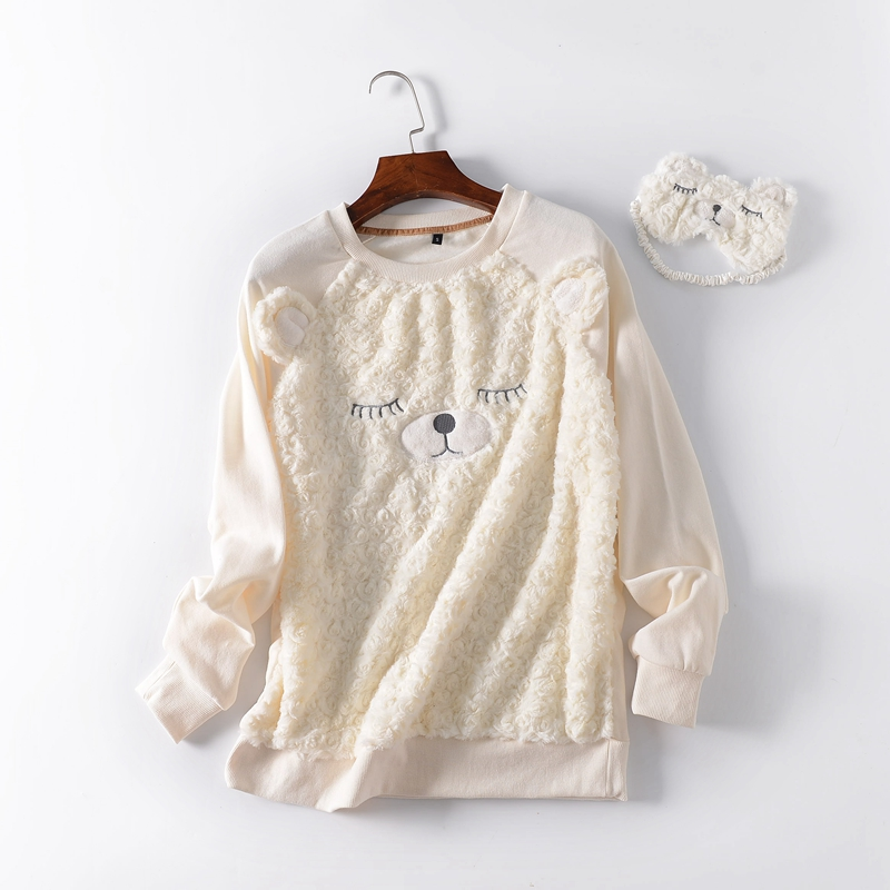 .  Women Sleeping Tops.Femme Home Clothing.Warm Fleece Cute Sheep Hoody.Eyeshade,Sales.Sleepwear
